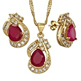 "Pear Cut Red Ruby White Gold Plated Jewelry Set, Pendant with 18"" Chain Stud Earrings"
