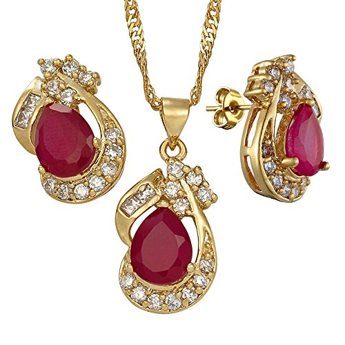 (RIZILIA Pear Cut Red Ruby Yellow Gold Plated Jewelry Set, Pendant with 18
