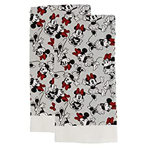 "Disney 100% Cotton Kitchen Towels, 2pk, Perfect for Drying Dishes & Hands, Absorbent, Light Weight, and Adorable- Machine Washable- 16"" x 26"" – Minnie Grey"