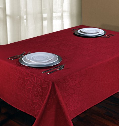 - Regal Home Collections Laura Rose Damask Oblong Tablecloth, 60-Inch Wide by 102-Inch Long, Burgundy