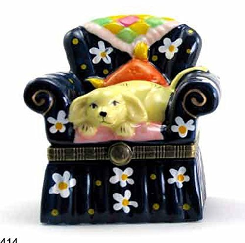 - Art Gifts Puppy Dog Doggy on Chair Quilt Hinged Trinket Box phb
