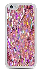 Holographic Look Pink Sequins Print Design White Silicone Case for iPhone 6 (4.7)
