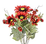 Admired By Nature 11 Stems Artificial Sunflower with Mini Berries Flower Bush for Wedding, Restaurant & Home Office Decoration Arrangement, Brick Red
