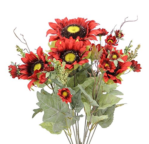Admired By Nature 11 Stems Artificial Sunflower with Mini...