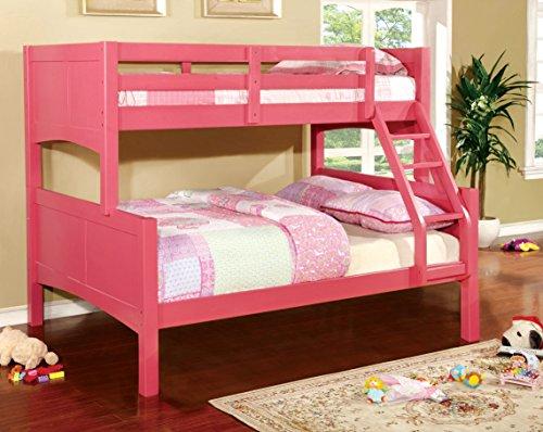 Furniture of America Marko Twin-Full Bunk Bed, Pink