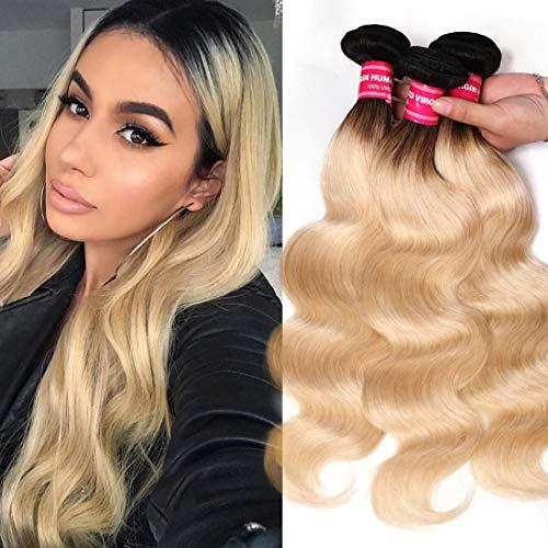 Nadula 10A Brazilian Blonde Body Wave Weave Remy Virgin Human Hair Bundles Body Wave T1b/613# Ombre Blonde Hair Weft Extensions (10 12 14, T1b/613#)