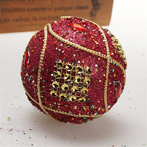 Christmas Ball Ornaments Decoration Christmas Rhinestone Glitter Baubles Balls Xmas Tree Ornament Decoration (8cm in Diameter) (Red) by TLT Retail (Image #3)