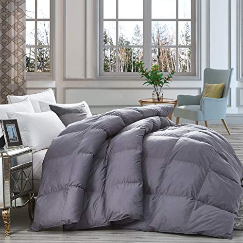 Luxurious Heavy Goose Down Comforter Queen Size Duvet Insert Classic Gray Premium Baffle Box 1200 Thread Count 100 Egyptian Cotton Cover 750 Fill Power 60 Oz Fill Weight Queen Gray