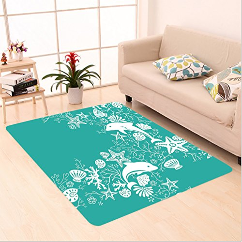 et Dolphins and Flowers Sea Floral Pattern Starfish Coral Seashell Wallpaper Pattern Art Teal White area rugs for Living Dining Room Bedroom Hallway Office Carpet (22