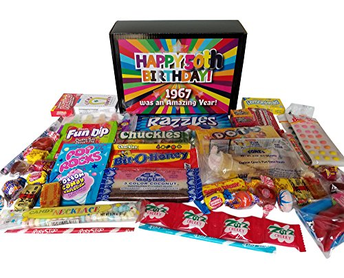 50th Birthday Candy Gift Box Full of Nostalgic Candy for 1967, Black