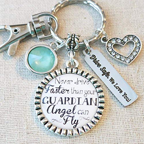 (NEW DRIVER Gift, TYPOGRAPHY Never Drive Faster Than Your Guardian Angel Can Fly Sweet 16 Sixteen Keychain, Drive Safe - We Love You Initial Keychain)