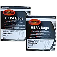 Type B HEPA Allergy Bags For Riccar 8000 8900, Simplicty 7 & 7000 Series and Belvedere Upright Vacuum Cleaners (2)