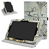 Verizon Ellipsis 10 Rotating Case,Mama Mouth 360 Degree Rotary Stand with Cute Cover for 10.1'' Verizon Ellipsis 10 Android Tablet,Map White