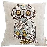"HOSL Cotton Linen Square Decorative Throw Pillow Case Cushion Cover Cartoon Green Cute Cartoon Owl 18 ""X18 """