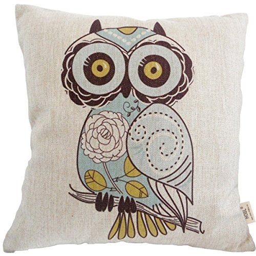 "Price comparison product image HOSL Square Decorative Throw Pillow Case Cushion Cover Cartoon Green Cute Cartoon Owl 18 ""X18 """