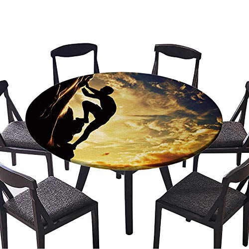 Round Tablecloths A Silhouette of Man Free Climbing on Rock,Mountain at Sunset Adrenaline,Bravery,Leader or Everyday Dinner, Parties 43.5