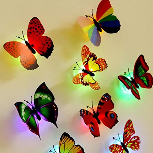 Chiak 3D Butterfly Colorful Changing LED Night Light Home Bedroom 3D Butterfly Wall Decals (1Pack)