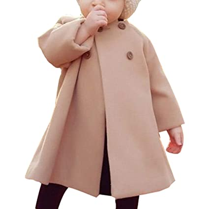 Otoño Abrigo para Bebés Niñas Invierno Calentito Chaquetas con Botones Moda e Elegante Manga Larga Cuello