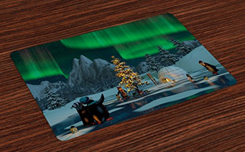 Ambesonne Aurora Borealis Place Mats Set of 4, Penguins on Frozen Lake with Christmas Tree Noel Arctic Circle Design, Washable Fabric Placemats for Dining Room Kitchen Table Decor, Lime ()