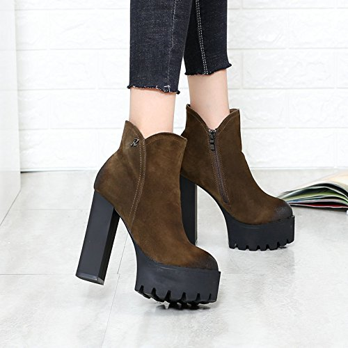 Thick Platform Super KHSKX Rough Heels High Heel Boots Boots Shoes Waterproof Top Round 35 Khaki Leather Martin Bottom Casual Short Wedding wrrxqta7