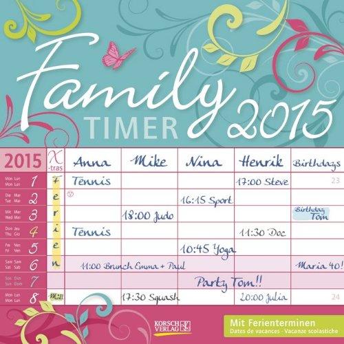 Family Timer - Floral 2015: Broschürenkalender mit Ferienterminen