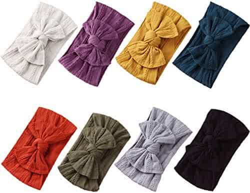 Baby Girl Nylon Headbands Newborn Infant Toddler Hairbands Bow Knotted Children Soft Headwrap Hair Accessories (Multicolor Eset3(8pcs), nylon)