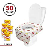 Banana Basics Flushable Disposable Paper Toilet Seat Cover (5 Packs, 10 Each) Kid-Friendly, X-Large Coverage | Promotes Proper Hygiene, Cleanliness | Reduce Germs, Messes | (Cars, 50 Pack)
