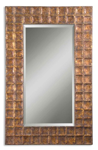 "Zinc Decor Hand-Hammered Metal Frame Beveled Wall Mirror Large 67"" -"