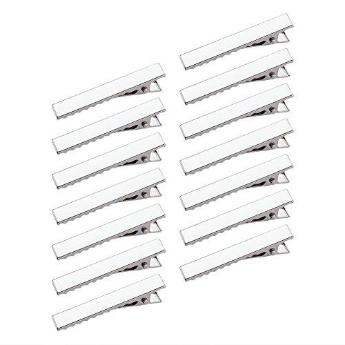Beadthoven 20pcs Iron Flat Alligator Hair Clip Findings, DIY Hair Accessories Making, Platinum (46x8mm)