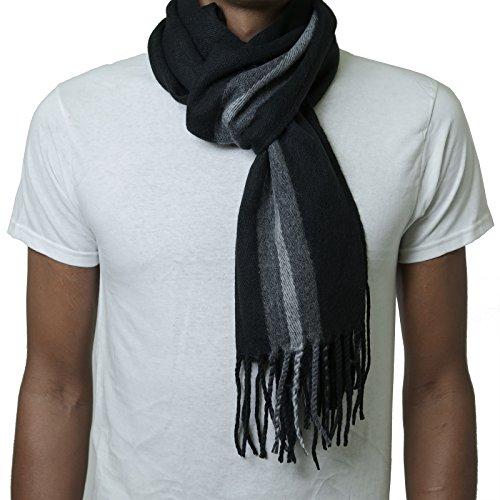 Alpine Swiss Mens Plaid Scarf Soft Winter Scarves Unisex,Black Stripe,One Size
