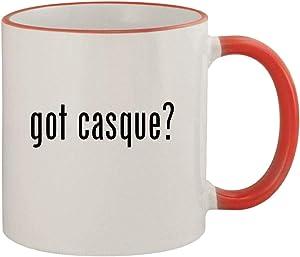 got casque? - 11oz Ceramic Colored Rim & Handle Coffee Mug, Red