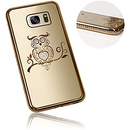 Xtra-Funky Range Samsung Galaxy S7 Edge Slim Silicone Case with Sparkling Crystal Edging and Owl - Gold Sales