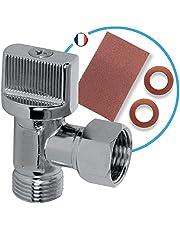 Bymeo WC-afsluitkraan, 3/8 hoek, 1/4 omwenteling, met snelsluiting, professioneel loodgietermateriaal, met 2 afdichtingen van 3/8 vezels en fijn zeildoek, aanpasbaar aan alle toiletten