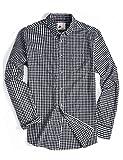 Menswear House MensCasualButtonDownPlaidShirtLongSleeve Cotton RegularFitDressShirts (Blackwhite, M)