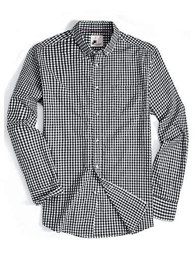 (Menswear House MensCasualButtonDownPlaidShirtLongSleeve Cotton RegularFitDressShirts (Blackwhite, L))