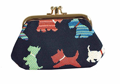 Black Dog Print Scottie Tapestry Double Clasp Frame Coin Change Purse by Signare in Black Background FRMP-SCOT) (Sock Coin Purse)