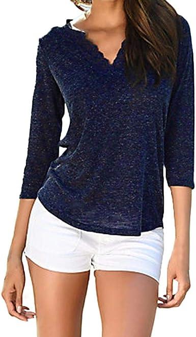 OverDose mujer V Cuello Encaje Patchwork Nueva Primavera De OtoñO De Manga Larga Camisa Casual Boho Ladies Tops Blusa: Amazon.es: Ropa y accesorios