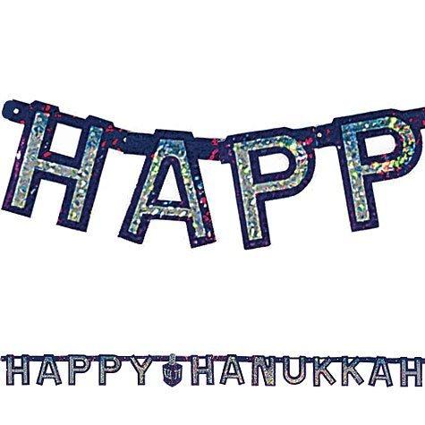 Happy Hanukkah Banner - Prismatic 72 Inch Letter Banner Big City Bargains