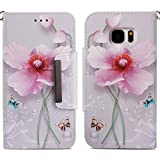 for Samsung Galaxy S7 Wallet Case with Card Holder and Screen Protector,QFFUN Elegant Pattern Design [Pink Lotus] Magnetic Stand Leather Phone Cases Drop Protection Etui Bumper Flip Cover with Lanyard