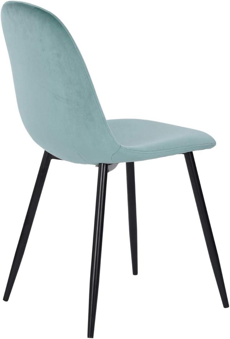 House in Box Charlton Retro PU//Velvet//Fabric Seat Kitchen Furniture Side Chairs Velvet Aqua Metal Legs Set of 2 Dining Chairs