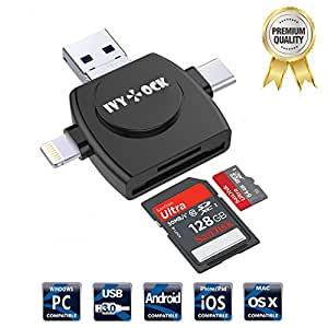 SD & Micro SD Card Reader - IVYOCK Memory Card Camera Reader Adapter for iPhone X /iPad/GALAXY S8/Android/Mac/PC/MacBook. With Lightning,Micro USB,USB Type C,USB 3.0 Connector (App Needed for iOS)