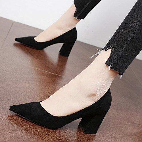 FLYRCX Suede estilo europeo parte tacones señoras moda superficial simple boca solo sexy zapatilla Black