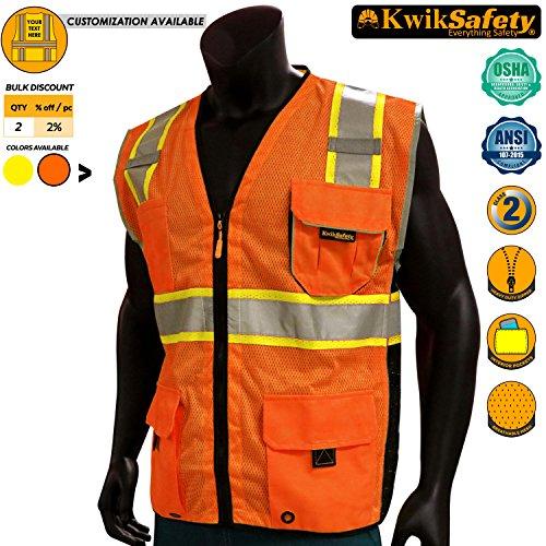 KwikSafety CLASSIC | Class 2 Safety Vest | 360° Hi Viz Reflective ANSI Compliant Work Wear | Hi Vis Breathable Mesh Expandable Pockets | Men & Women Regular to Oversized Fit | Orange 4XL/5XL