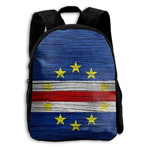 (Liumong Flag Of Cape Verde Wooden Texture Children Multi-function Mini Casual Outdoor Travel Book Middle School Backpack 13 Laptop Computer Bag Pocket Zipper)
