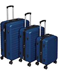 AmazonBasics Hardside Spinner Luggage - 3 Piece Set (20, 24, 28), Navy Blue
