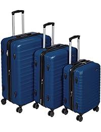 """AmazonBasics Hardside Spinner Luggage - 3 Piece Set (20"""", 24"""", 28""""), Navy Blue"""