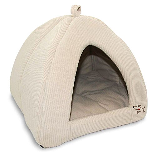 Best Pet Supplies Corduroy Tent Bed for Pets, Beige - Medium (Bed For Small Pet)