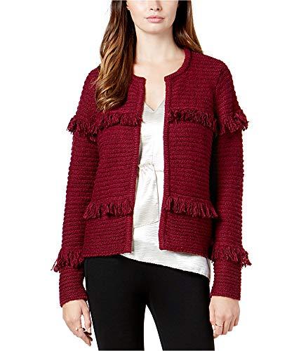kensie Women's Punk Yarn Fringe Sweater Cardigan, Cherry Wood, L