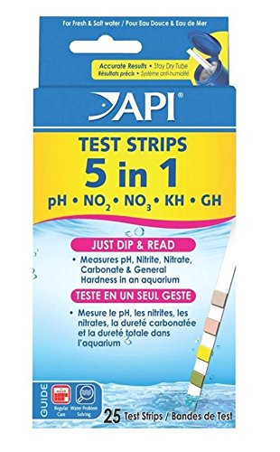 GVGs Shop 25 Ct. 5 in 1 Aquarium Tester Strips Easy to Read Saltwater Check Accurate Results Good Popular Water Kits with Color Chart