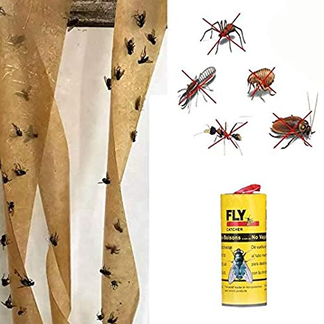 BEARCOLO Sticky Fly Paper Strips Fly Catcher Trap Fly Paper Ribbon No-Toxic Mosquitos Insect Catcher 1 Pcs
